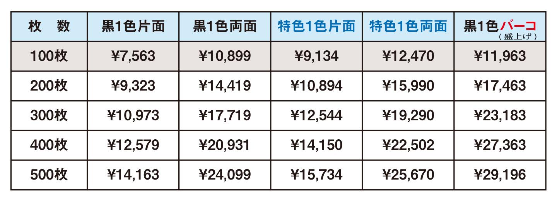 名刺印刷代金価格表